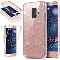 Uposao Samsung Galaxy S9 Coque en Silicone Rose Luxe 360 Degré Coque Avant et arrière Full Body Transparent Ultra-Mince Souple TPU Gel Brillant Sparkle Cristal Clair Coque Double Faces Etui Galaxy S9