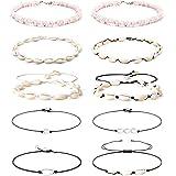 Finrezio 10PCS Natural Puka Shell Choker Necklace Set for Women Hawaiian Seashell Beach Necklace Pearls Choker Cord Necklace