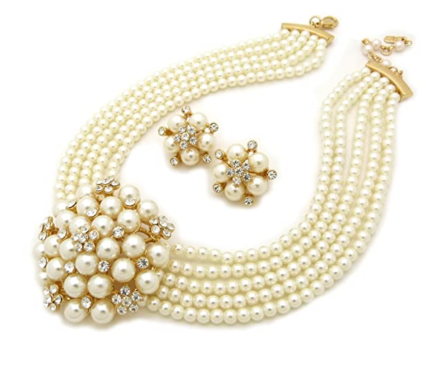 1940s Costume Jewelry: Necklaces, Earrings, Brooch, Bracelets Fashion 21 5 Rows Rhinestone Accented Simulated Floral Pearl Cluster Necklace Clip on Earring 2 Set $16.99 AT vintagedancer.com