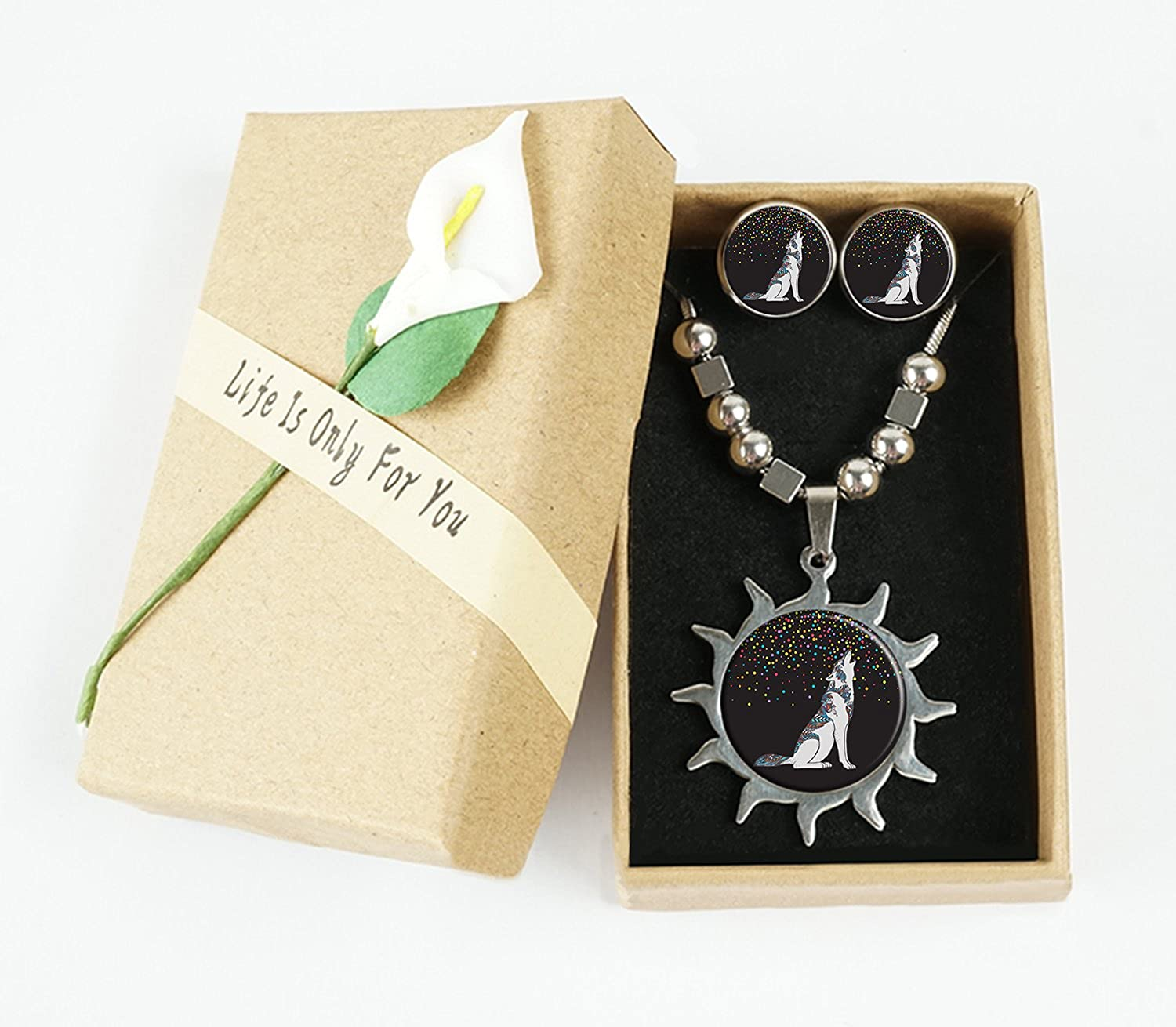 OneBee Colourful confetti with cool the wolf Custom Sun Pendant Necklace Ear Studs Set