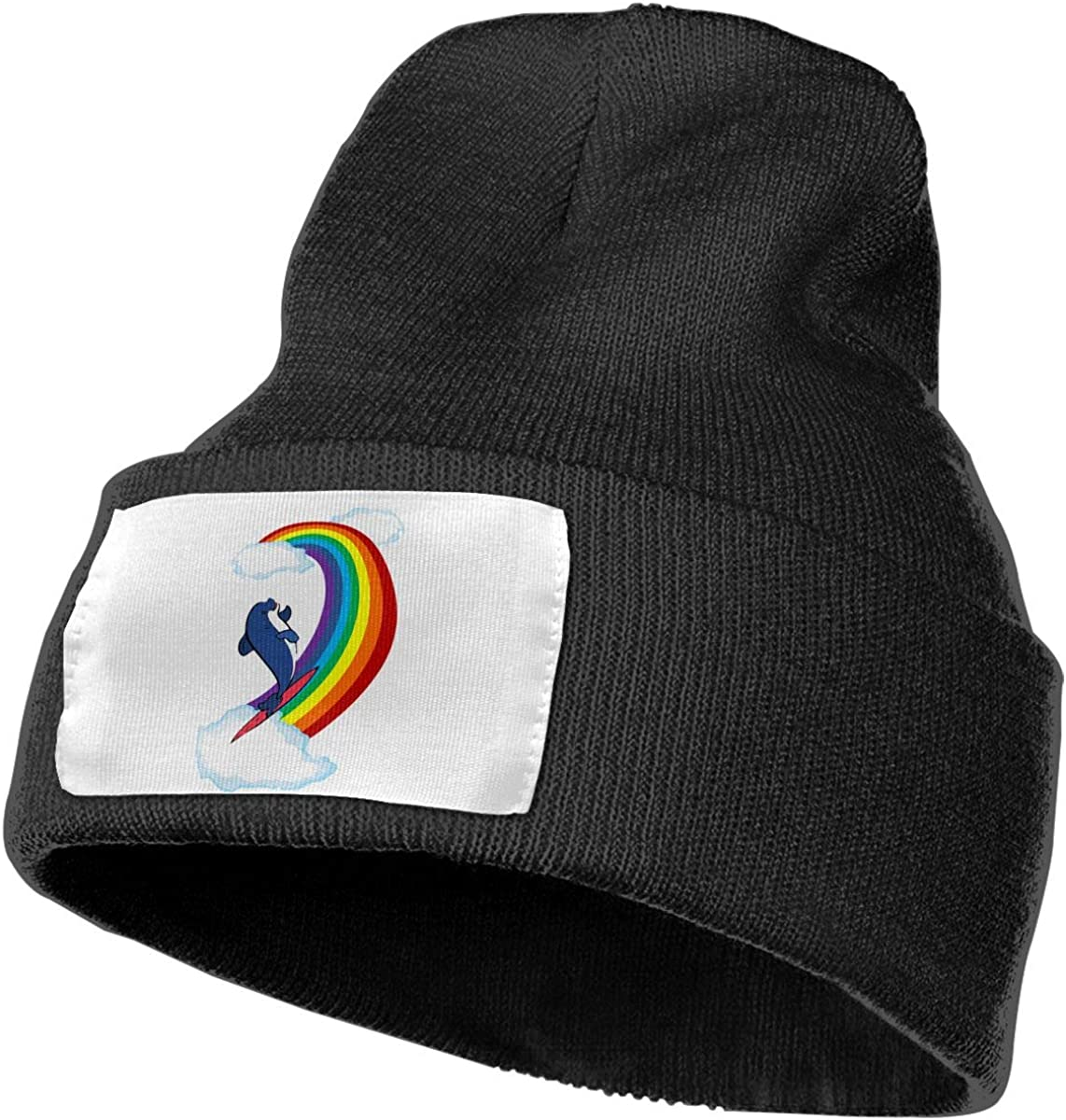 Surfing Dolphin On The Rainbow Men /& Women Skull Caps Winter Warm Stretchy Knitting Beanie Hats