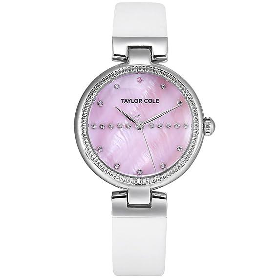 Taylor Cole Reloj Mujer de Moda con Correa de Cuero Cristal Analógico Cuarzo Reloj de pulsera Blanco TC115: Amazon.es: Relojes