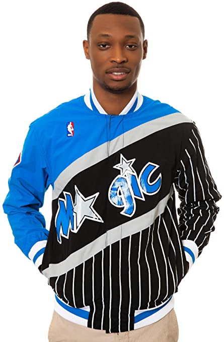 3c7cf875d0a NBA Mitchell   Ness Orlando Magic Authentic Vintage Warm-Up Jacket -  Black Royal
