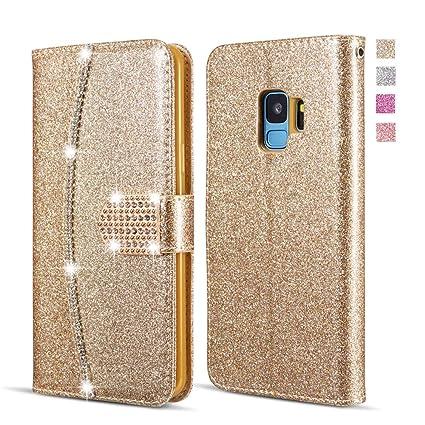 low priced cefe7 b9610 UEEBAI Wallet Flip Case for Galaxy S6 Edge, Premium Glitter Glossy PU  Leather Case [Diamond Buckle] [Card Slots] [Magnetic Clasp] Rhinestone  Handbag ...