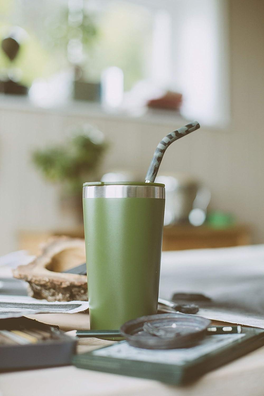 Mizu - Straw Set | Stainless Steel | 4 Grey Camo Silicone Tops + 1 Cleaning Brush | BPA Free