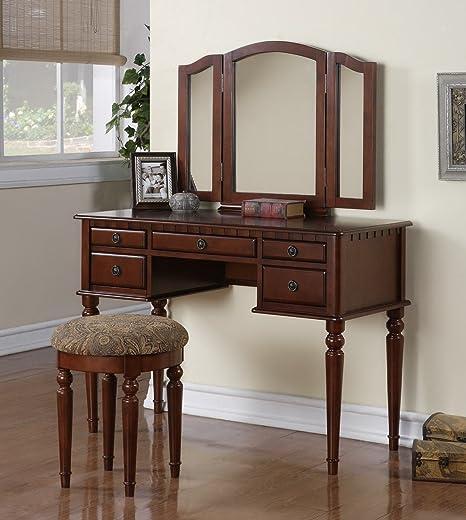 Tri Folding Mirror White Wood Vanity Set Make Up Table Dresser W/stool 5  Drawers