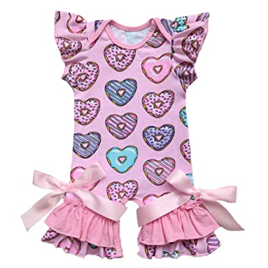 79e324aa15e FYMNSI Baby Girls Icing Ruffle Short Sleeve Romper Jumpsuit Bodysuit  Valentine Heart Love Easter Eggs Pajamas