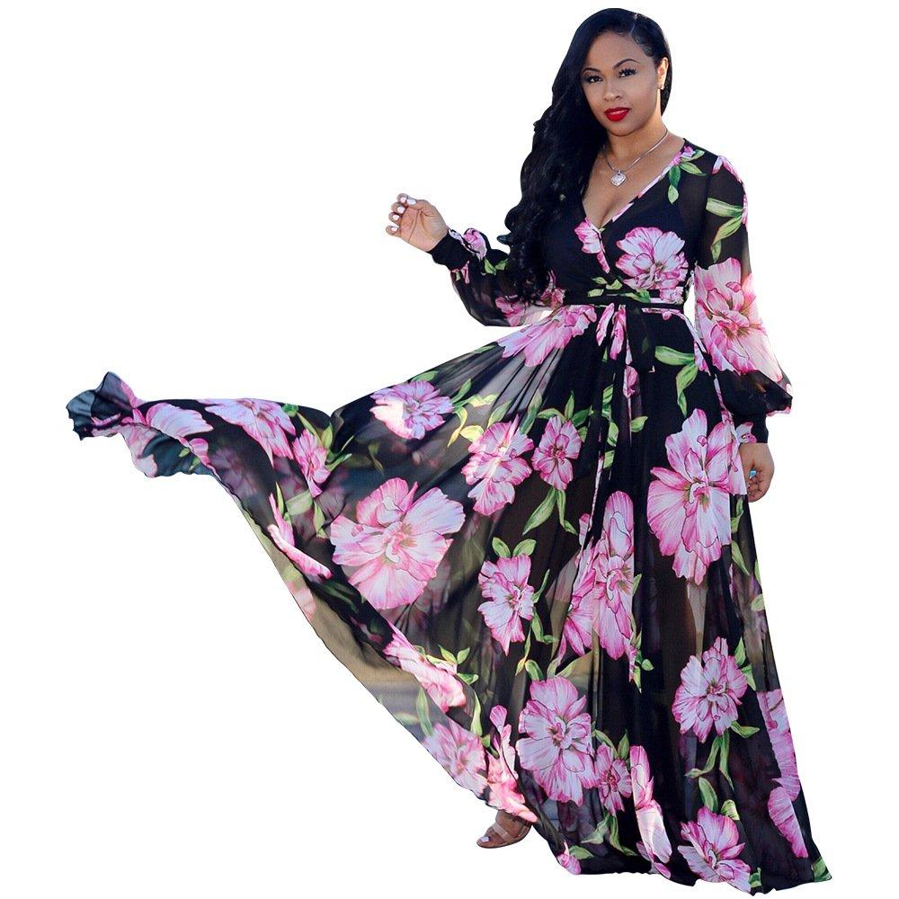 Nuofengkudu Womens Stylish Chiffon V-Neck Printed Floral Maxi Dress with Waisted Belt Plus Size