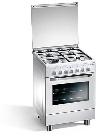 cucina a gas 60x50x85 cm bianca 4 fuochi con forno elettrico regal rc653wsn