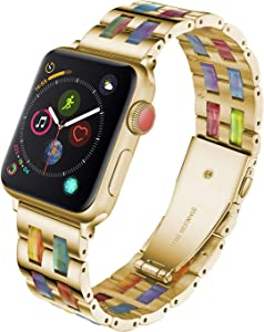 Stainless Steel and Resin Watch Band Compatible with Apple Watch Band 38mm 40mm Women Colorful Replacement Wristband Bracelet for iWatch SE Series 6 5 4 3 2 1 - Gold + Rainbow