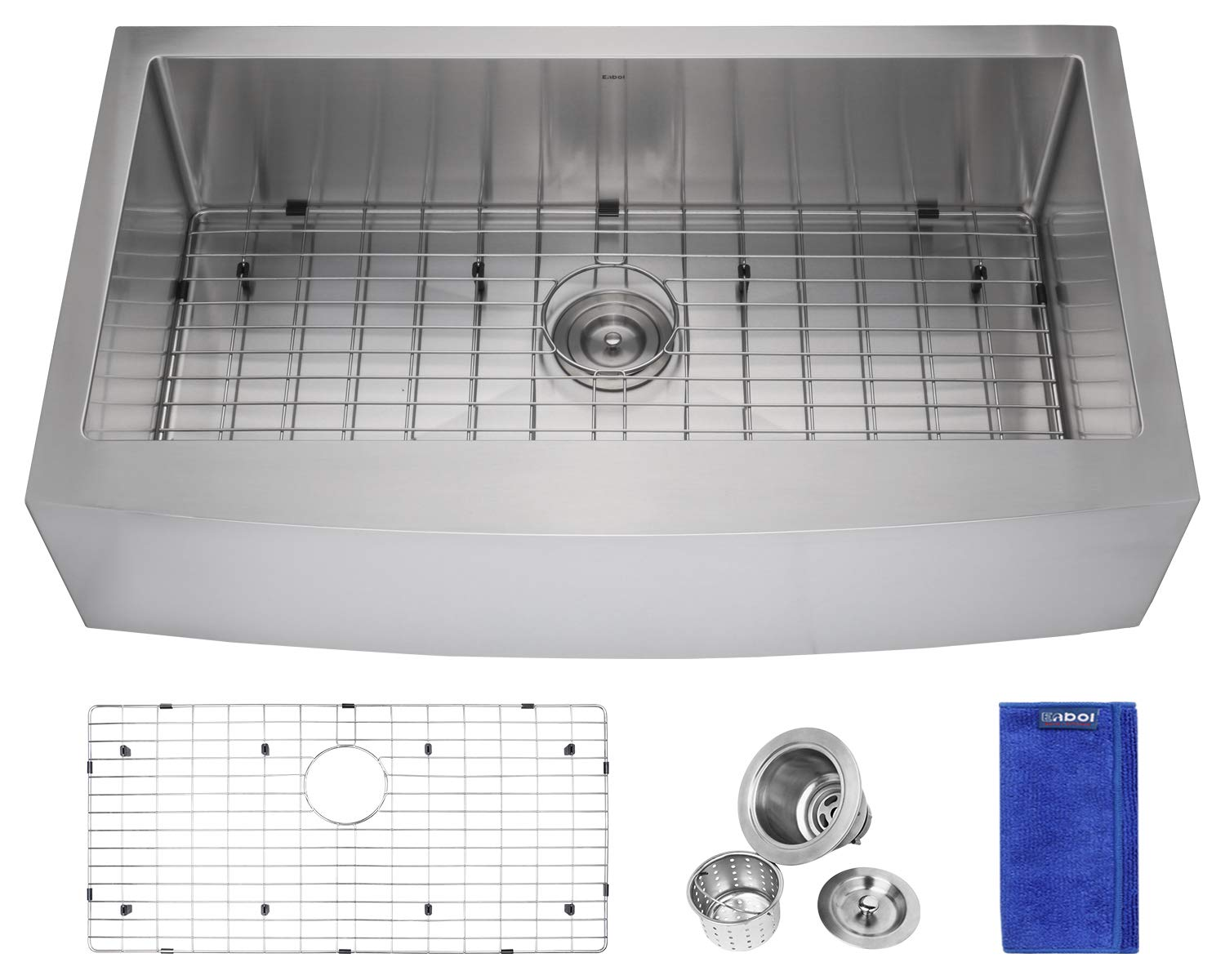 Enbol EAS3620 36 Inch Arc Apron Front Farmhouse Undermount Single Bowl Stainless Steel Kitchen Sink with Protective Bottom Grid and Strainer, 10 Inch Extra Deep, Easy Clean Rounded Corner