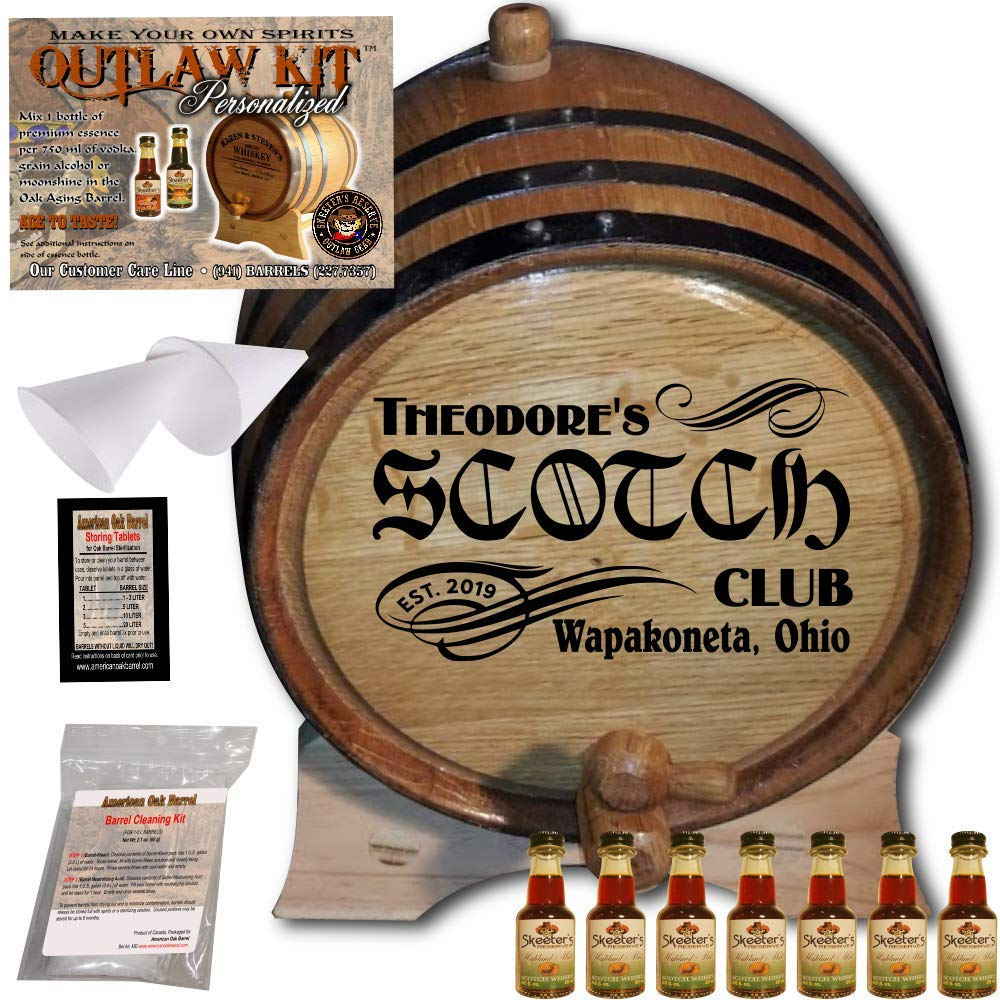 Personalized Whiskey Making Kit (201) - Create Your Own Highland Malt Scotch Whiskey - The Outlaw Kit from Skeeter's Reserve Outlaw Gear - MADE BY American Oak Barrel - (Oak, Black Hoops, 2 Liter) COK201HMS02LBK