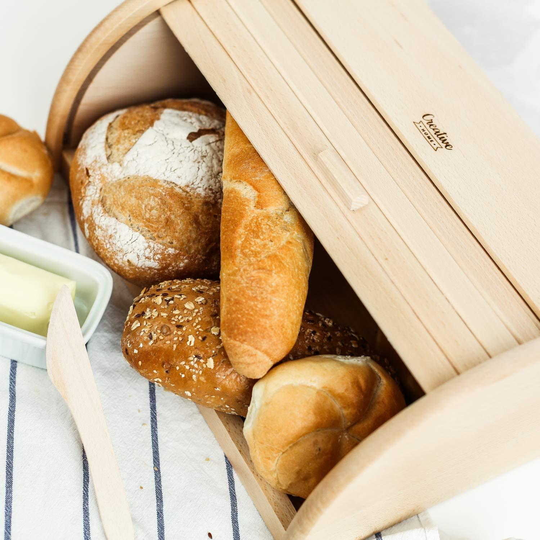Brotkiste mit Roll-Deckel Nat/ürliche Brot-Kiste Creative Home Roll-Brotkasten aus Buchen-Holz Brotbeh/älter f/ür Jede K/üche Perfekte Brot-Box f/ür Brot 40 x 27,5 x 18,5 cm Br/ötchen und Kuchen
