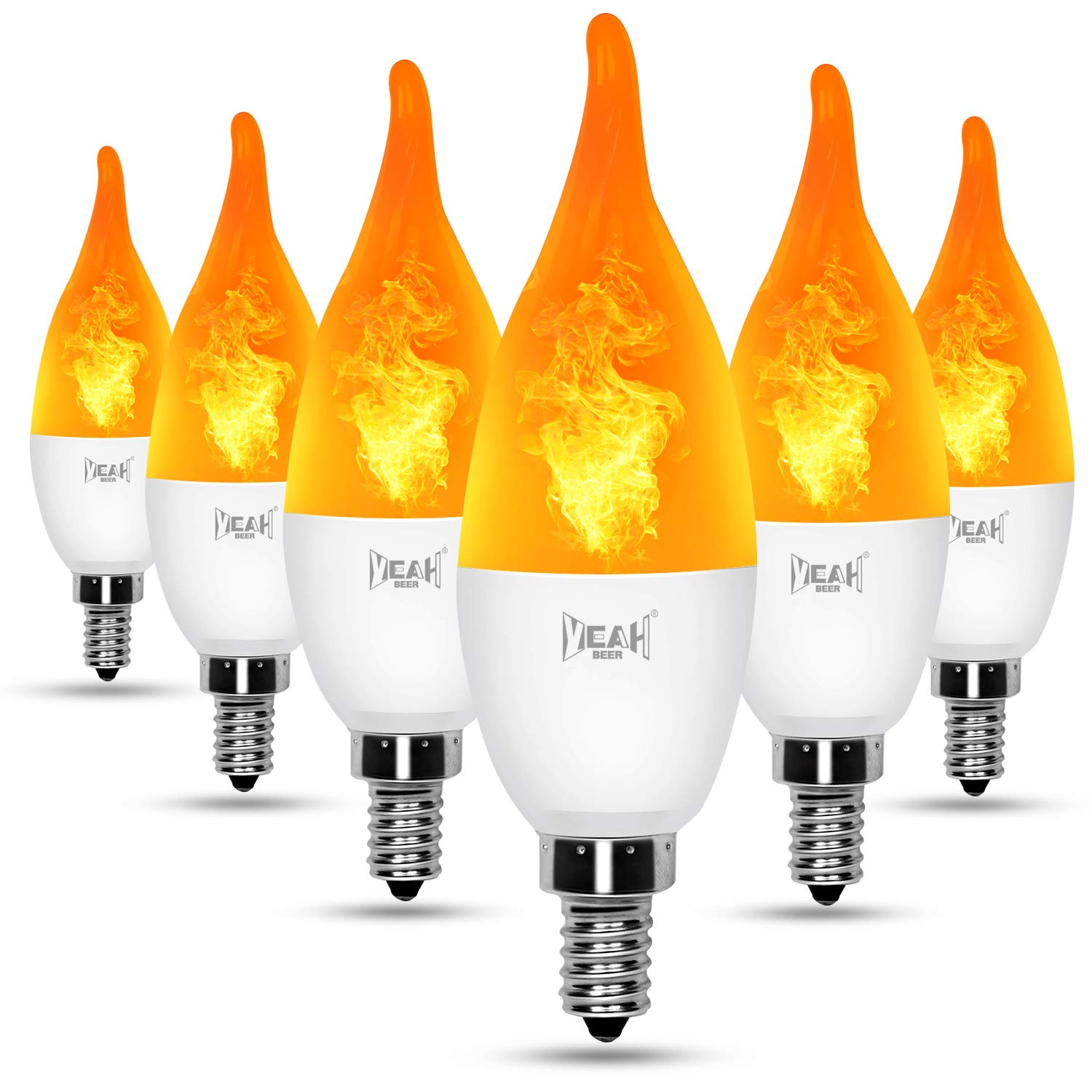 YEAHBEER E12 Flame Bulb LED Candelabra Light Bulbs,1.2 Watt Warm White LED Chandelier Bulbs,1800k Non-Dimmable Candle Light Bulbs, Flame Tip(6 Pack)