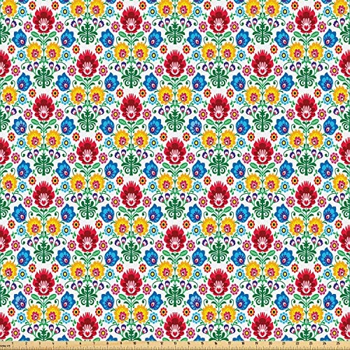 Ambesonne Polish Folk Art Fabric by The Yard, Flourish Motif with Colorful Flowers and Leaves Kaszuby Region, Microfiber Fabric for Arts and Crafts Textiles & Decor, Multicolor from Ambesonne