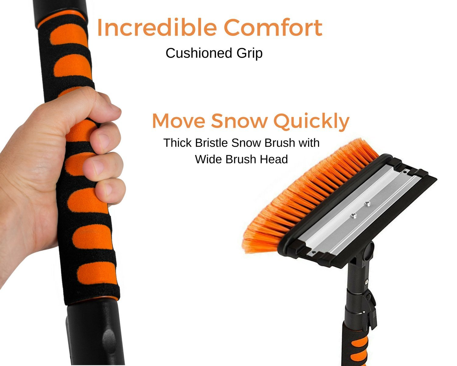 Snow Moover 39 Extendable Snow Brush with Squeegee /& Ice Scraper Car Truck SUV Auto Snow Brush Auto Ice Scraper Foam Grip