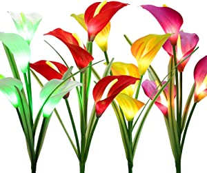 BrizLabs Outdoor Solar Flower Lights, 4 Pack 16 LED Solar Powered Garden Stake Lights, Multi-Color Changing Calla Lily Flower Lights, Waterproof Solar Landscape Lights for Garden, Patio, Pathway Decor
