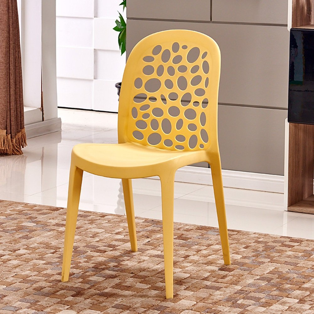 (Quantity: 3) Plastic home chair / creative simple backrest computer chair / modern personality stool / casual dining chair ( Color : Yellow )