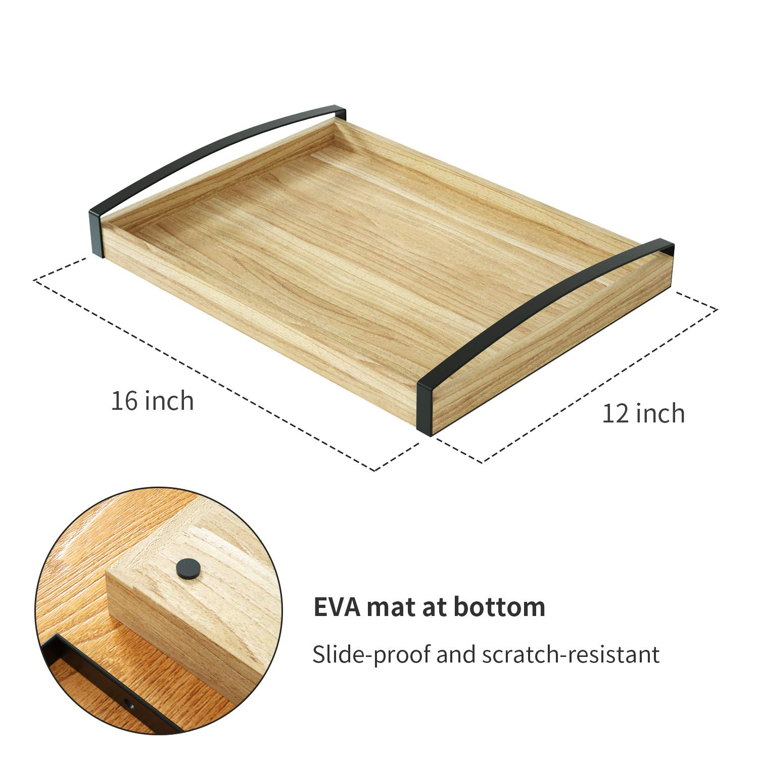 Love-KANKEI Wood Serving Tray with Metal Handle - Rectangle Breakfast Tray for Bed Ottoman Dinner Party 16 x 12 inch by Love-KANKEI (Image #6)