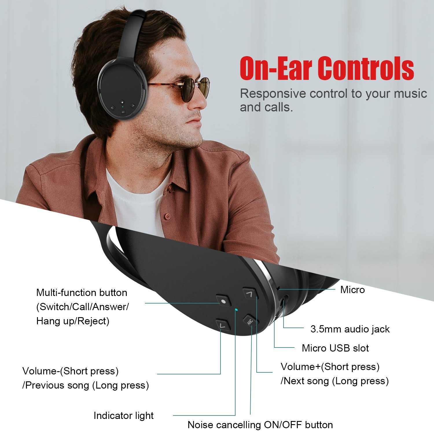 Active Noise Cancelling Bluetooth Headphones, Lobkin Wireless Over Ear Headphones with Microphone apt-X HiFi Stereo Sound Headphones for TV/PC/Cellphone--Black