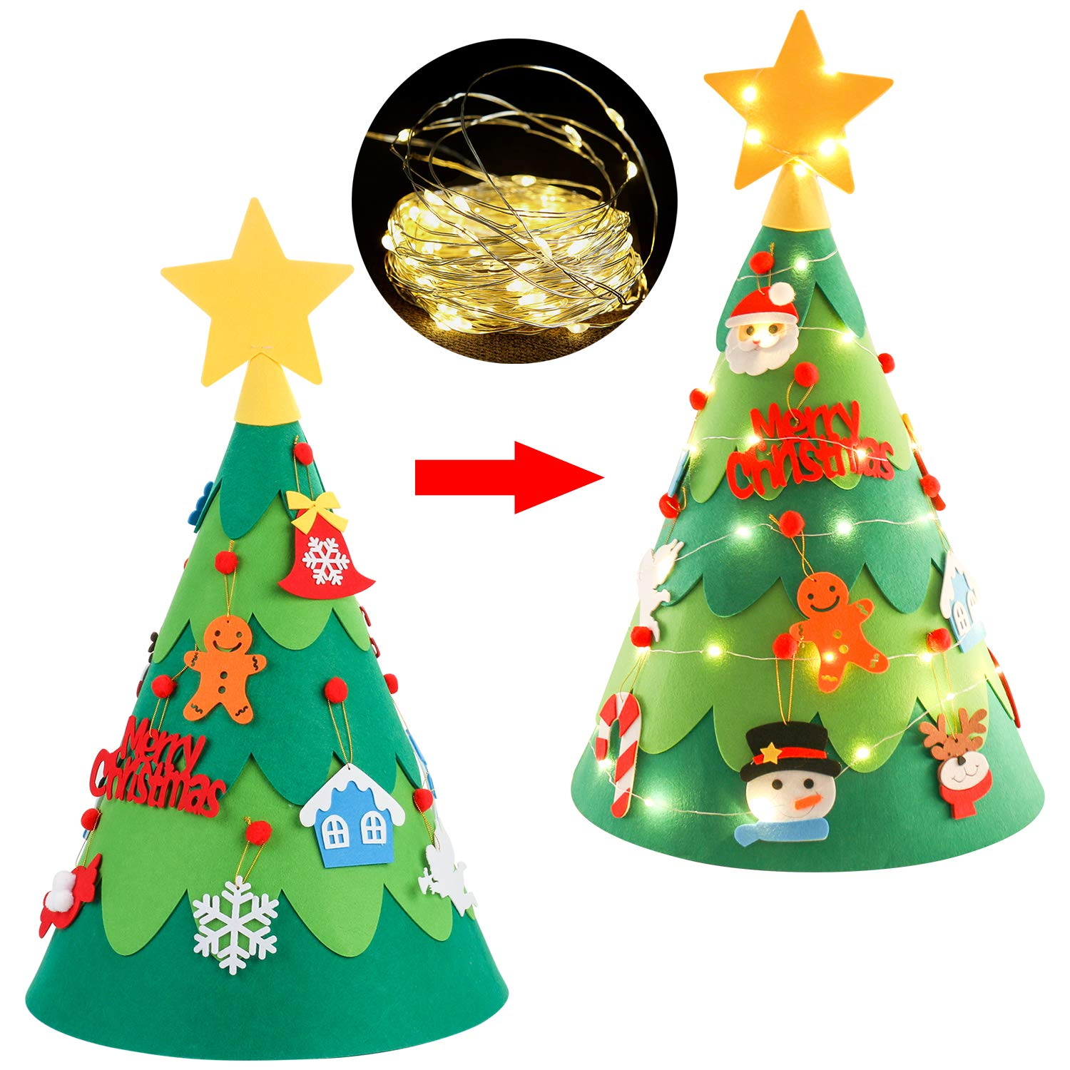 ZOYLINK Felt Christmas Tree Cute DIY Xmas Tree with Ornaments String Light for Kids