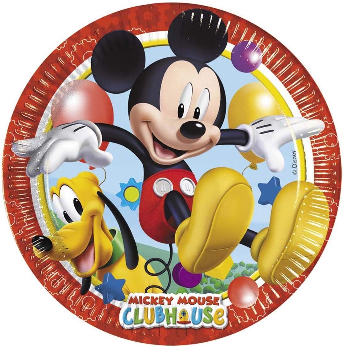 Perona Pack 8 platos 20 cm, Mickey Mouse, multicolor, (50861)