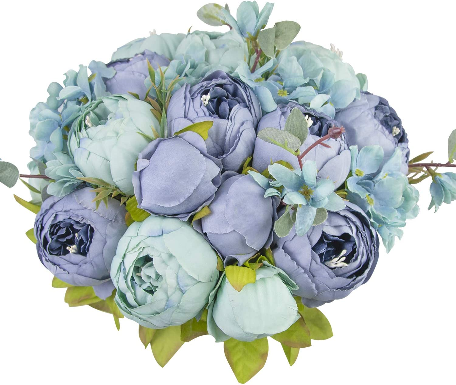 Amazon Com Huahuashijie Vintage Artificial Peonies Silk Peony Flowers Bouquet For Wedding Bridal Home Décor Beautiful Floral Centerpiece Arrangement Decoration With 2 Bouquets Mixed Blue Home Kitchen