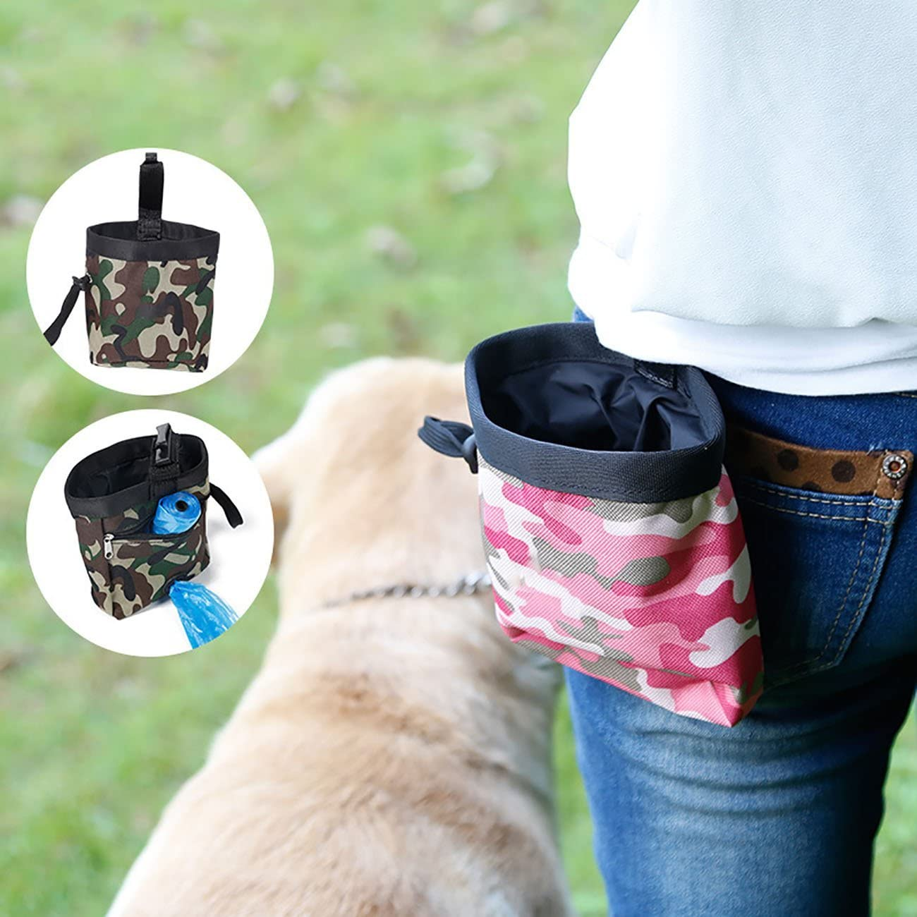 Uheng Dog Treat Training Pouch C Built-In Poop Bag Dispenser – for Carries Pet Toys, Kibble, Treats, Pet Snack Bag C Clip on Waist, Key