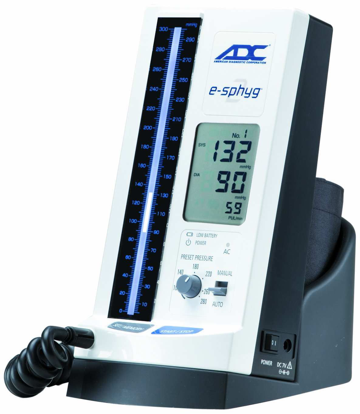 ADC 9002 e-Sphyg II Automatic NIBP Blood Pressure Monitor with Small Adult, Adult and Large Adult BP Cuffs and Desktop Stand