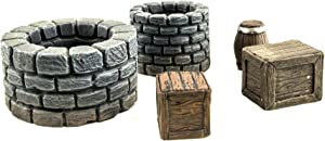 War World Gaming Fantasy Village Set of Wells, Crates & Barrels – 28mm Heroic Scale Wargaming Terrain Model Diorama Scenery Wargame Tabletop Medieval Battle Wargame Battleboard