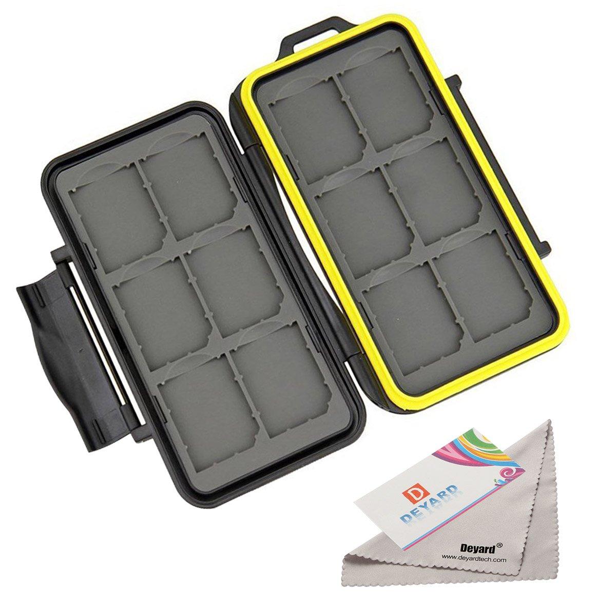 Deyard K020 memory card scheda di memoria impermeabile antiurto Carrying box: 24 slot per 12 e 12 SDHC/SDXC micro SD Cards –  aggiornato gomma sigillato Protector Deyard Tech