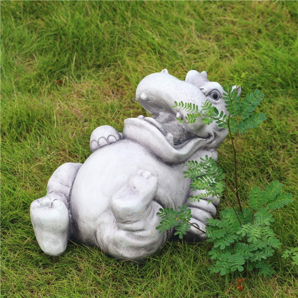 NuAnYI Resin Hippo Sculpture Garden Statues Animal Ornaments Pond Decoration Statue Yard/Lawn Decor, Birthday Gift