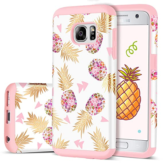 online retailer 60feb 03196 S7 Pineapple Case, Samsung Galaxy S7 Case, DUEDUE Slim Hybrid Hard PC Soft  Rubber Anti-Scratch Shockproof Protective Phone Case Cover,Rose Gold