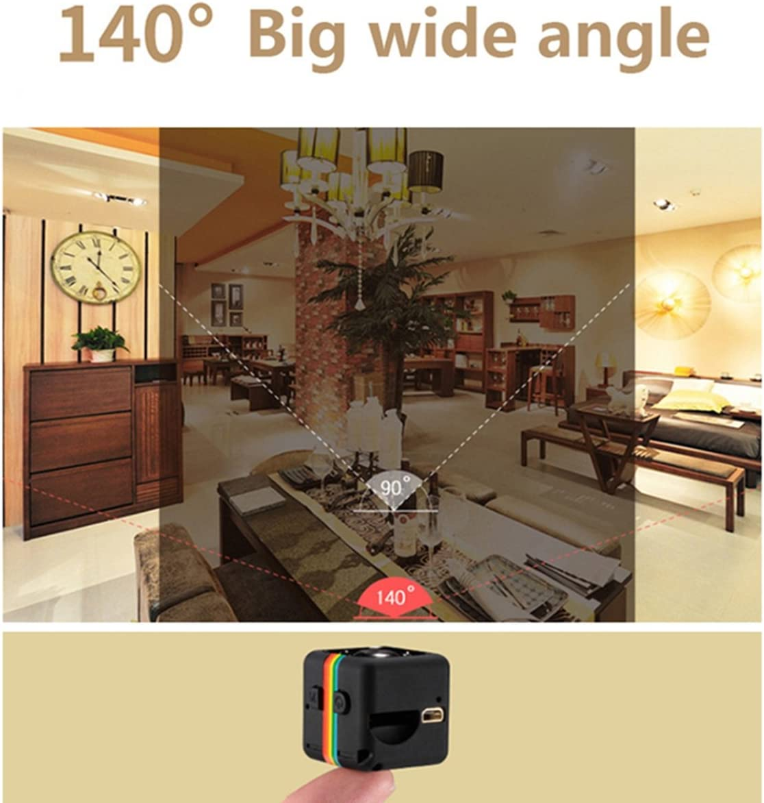Lanxi/® SQ11 Full HD 1080p Mini Coche esp/ía c/ámara Oculta DV DVR Dash CAM visi/ón Nocturna por Infrarrojos Negro