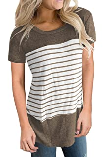 aa58c50c0e8 Aokosor Women s Short and Long Sleeve T Shirts Color Block Striped Tops  Blouses