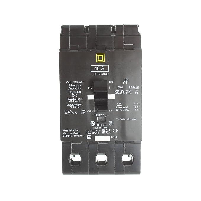 SCHNEIDER ELECTRIC 480Y/277-VOLT 40-AMP EDB34040 Miniature Circuit Breaker 480Y/277V 40A