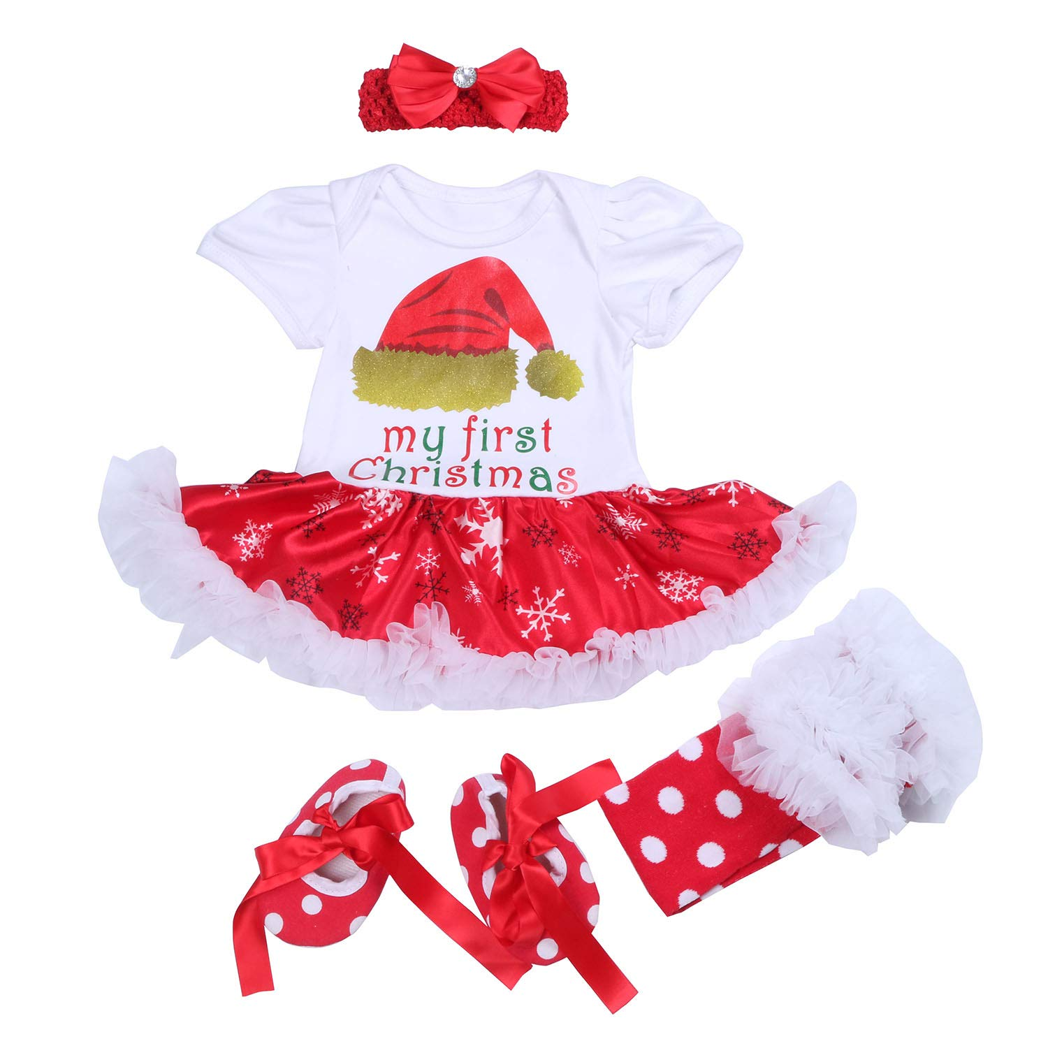 BabyPreg Infant Baby Girl My First Christmas Outfits Romper Tutu Dress Headband