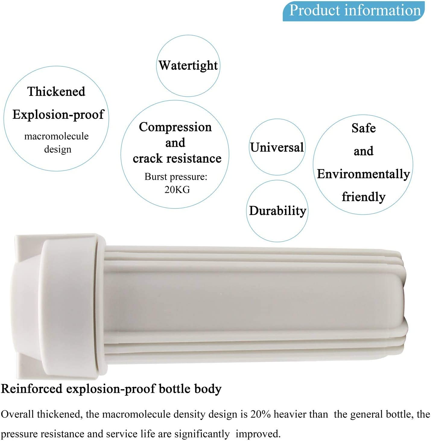 2.5 Inch x 10 Inch Filters 1//2 Inch Inlet//Outlet Whole House Tap Water Pre-Filter for Water Filters and Reverse Osmosis RO Systems BAOSHISHAN Filter Housing with 10 Filters