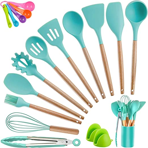 Amazon Com Kitchen Utensil Set Silicone Cooking Utensils Crosde 19pcs Kitchen Utensils Set Tools Wooden Handle Spoons Spatula Set Cookware Turner Tongs Kitchen Gadgets With Holder Teal Kitchen Dining