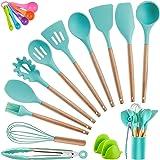 Kitchen Utensil Set Silicone Cooking Utensils, CROSDE 19pcs Kitchen Utensils Set Tools Wooden Handle Spoons Spatula Set…