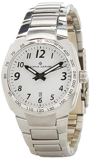 Alpha Saphir Reloj Analógico para Hombre de Cuarzo con Correa en Acero Inoxidable 274H: Amazon.es: Relojes