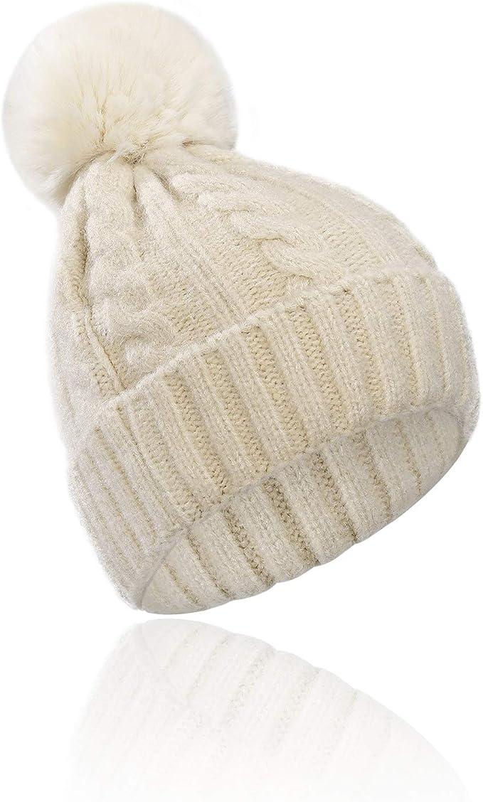Sombreros de Punto Pompom para Madre y Beb/é 2PCS Gorro Beanie Suave Piel Sint/ética Pom Hairball de Invierno de Esqu/í para Padres e Hijos