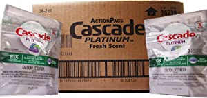 Cascade Platinum Action Pacs Dishwasher Detergent, 15x Power, Fresh Scent, 2 Count (Pack of 36)