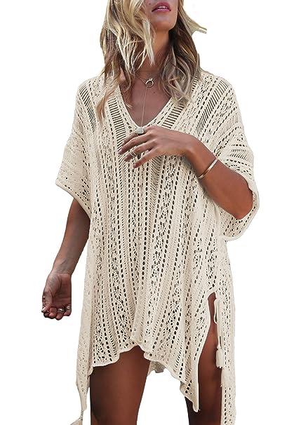 Amazon.com: joomeryer Mujer Crochet Túnica Cover Up borla ...