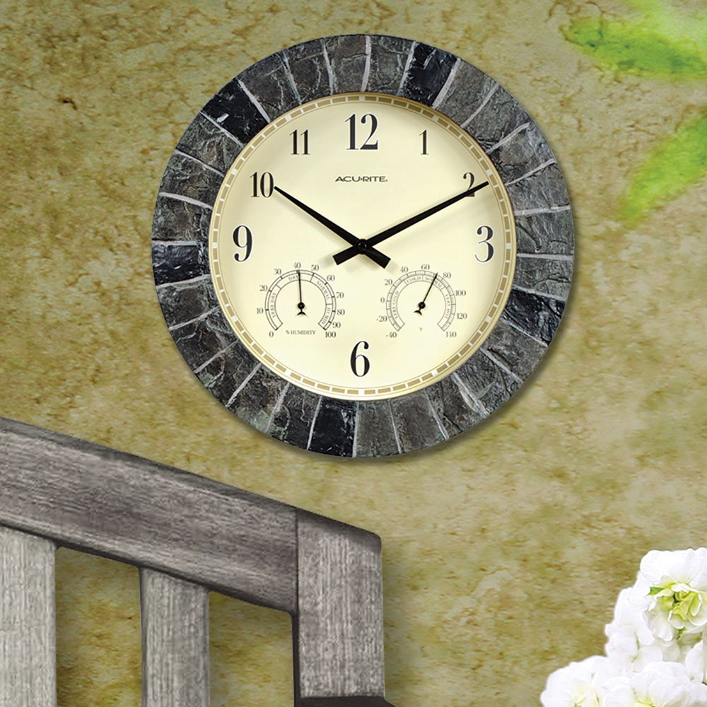 Amazon.com: AcuRite 02418 14 Inch Faux Slate Indoor/Outdoor Wall Clock With  Thermometer, Hygrometer: Home U0026 Kitchen