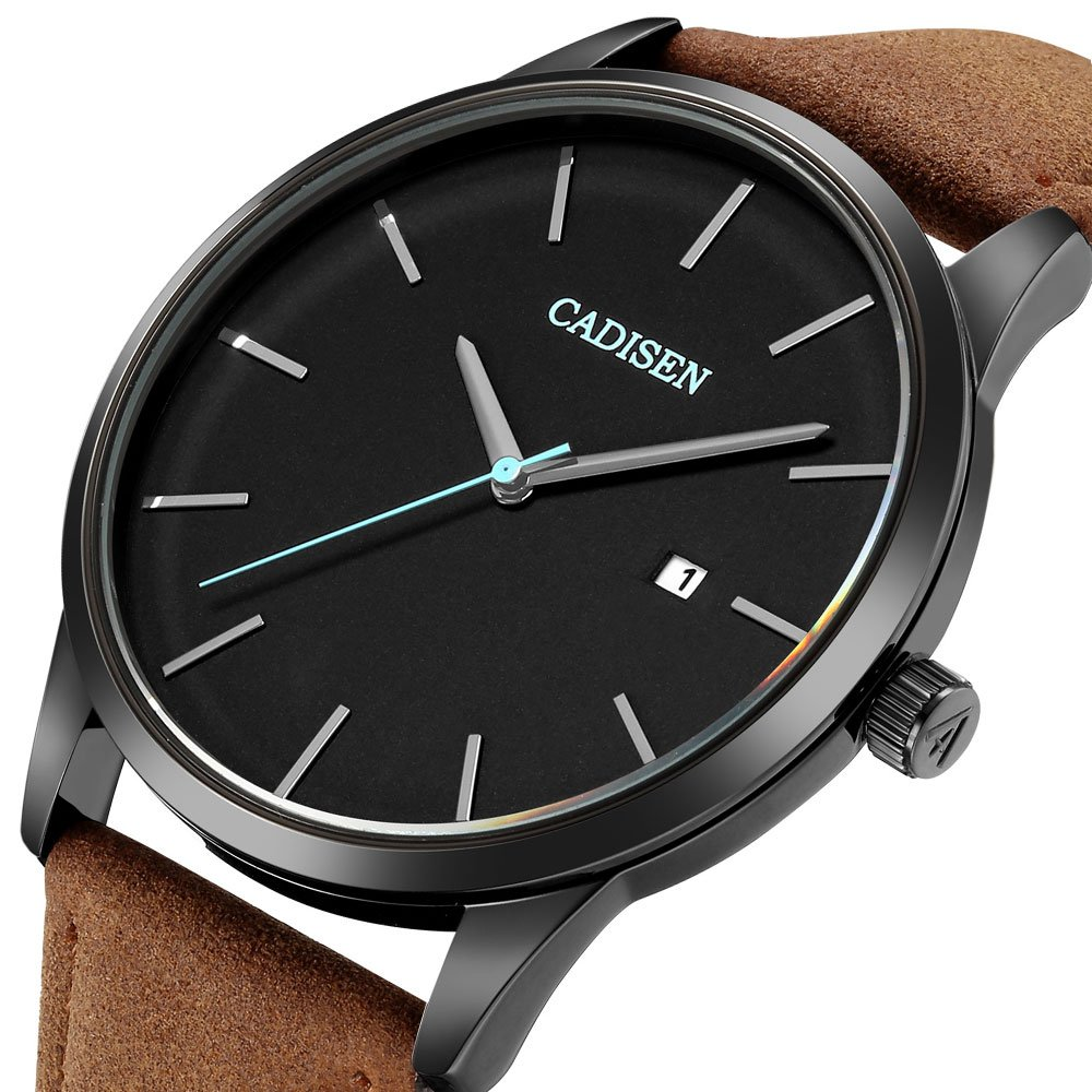 0569d7118995 Amazon.com  CADISEN Classic Watch for Men Brown Leather Strap Black Dial  Waterproof