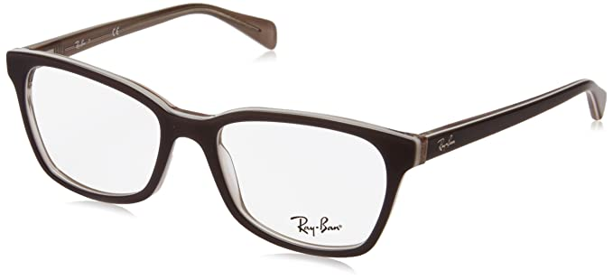 fa73279fed Image Unavailable. Image not available for. Color  Ray-Ban Women s 0rx5362 No  Polarization Square Prescription Eyewear Frame Top Grey Ice Transparent  Beige