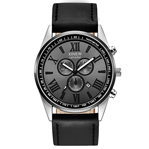 ... Watches Stainless Steel Cases Casual Wrist Watches on Sale on Clearance Sport Analog Quartz Watches with Leather Strap Relojes De Hombre Birthday Gifts ...