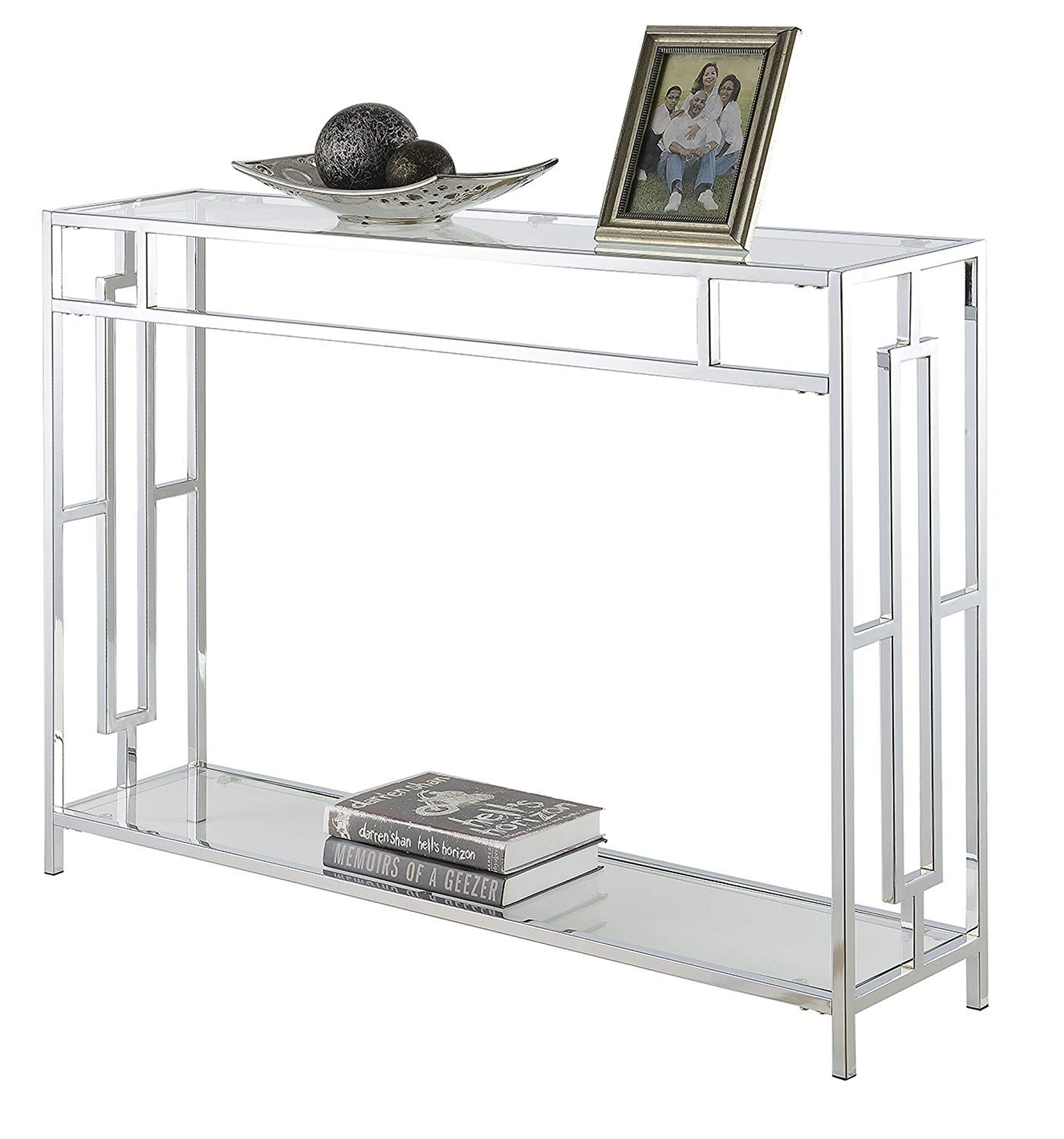 Convenience Concepts Town Square Chrome Console Table, Clear Glass / Chrome Frame