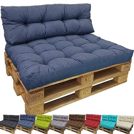 Cojines Palés Tino Lounge, Cojines De Asiento Y Respaldo Para Sofás Palets - Repelentes A Las Manchas (No Es Un Set), Color:Azul oscuro, ...